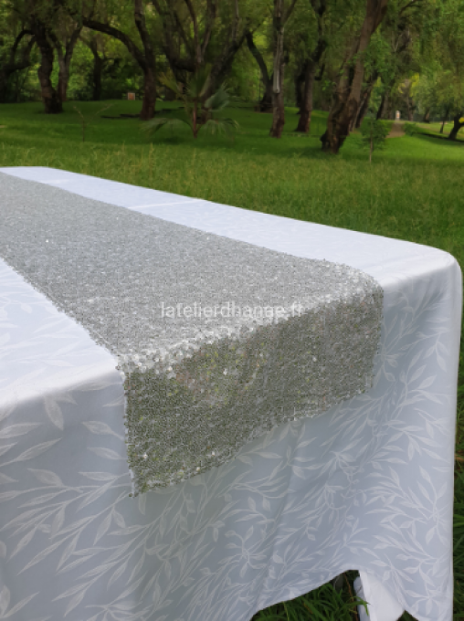Location Chemin de Table en Sequin Argent