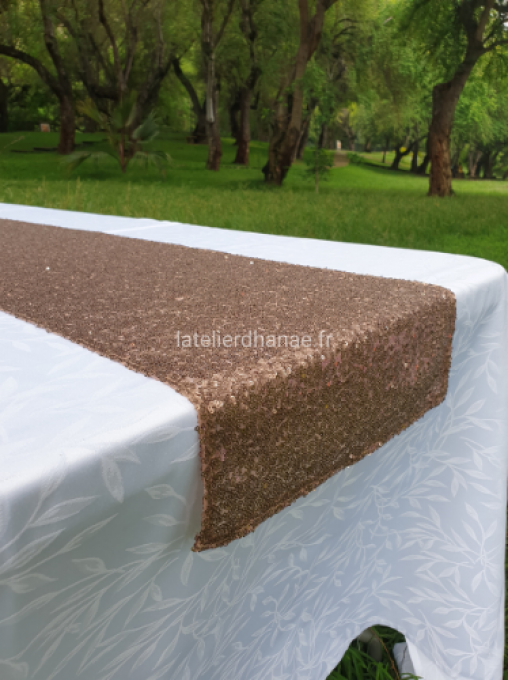 Location chemin de table en Sequin Rose Bronze