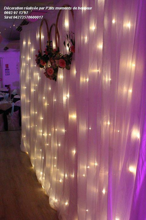 Structure + Rideau lumineux LED blanc chaud 4Mm40m de largeur